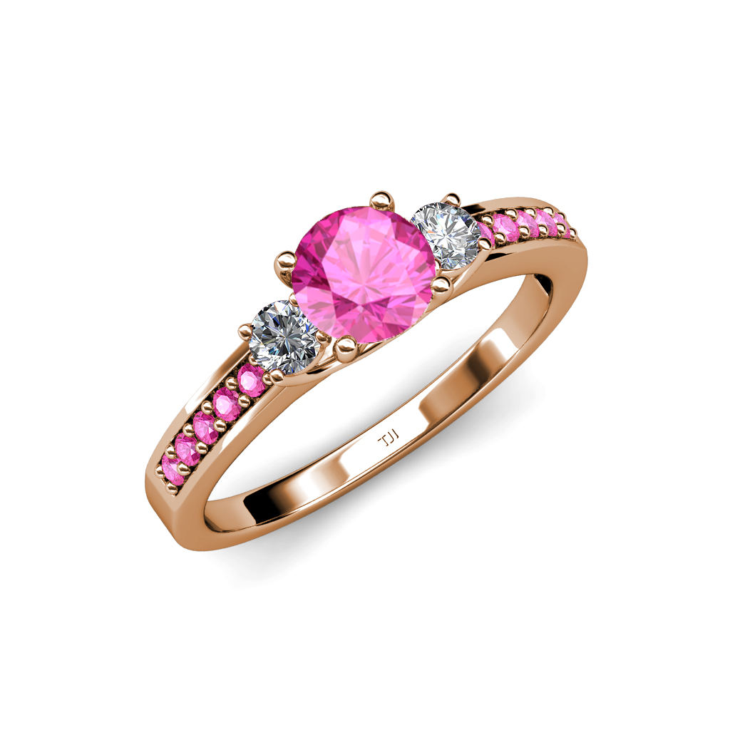 Pink Sapphire & Diamond 3 Stone Ring with Side Pink ...