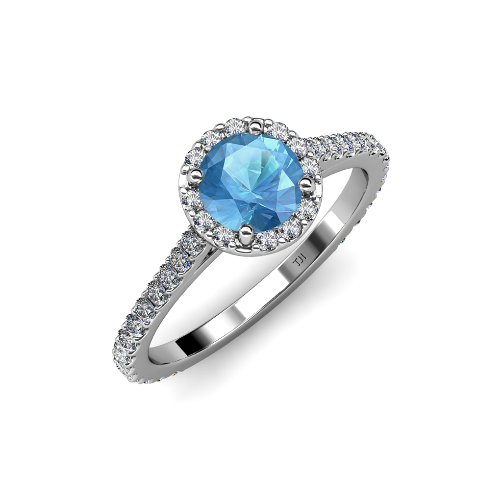 Blue Topaz Diamond SI2 I1 G H Halo Engagement Ring 1 70 Ct TW In 14k Gold