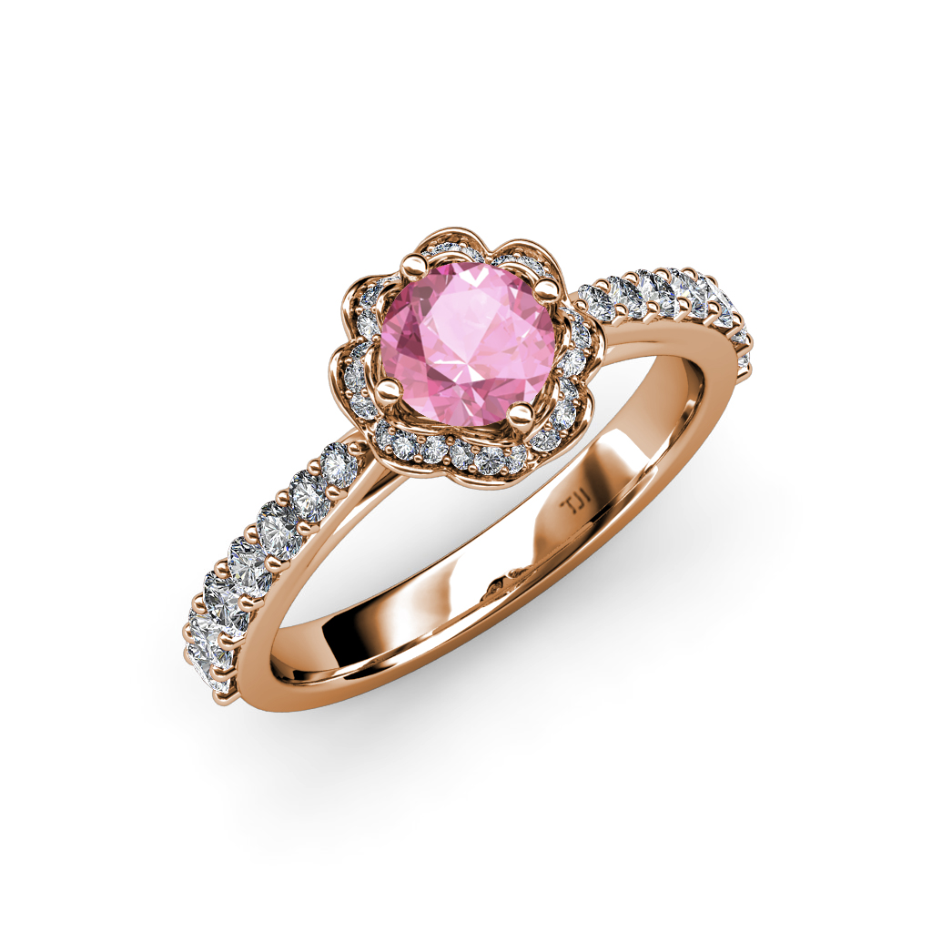 pink tourmaline si2 i1 g h floral halo