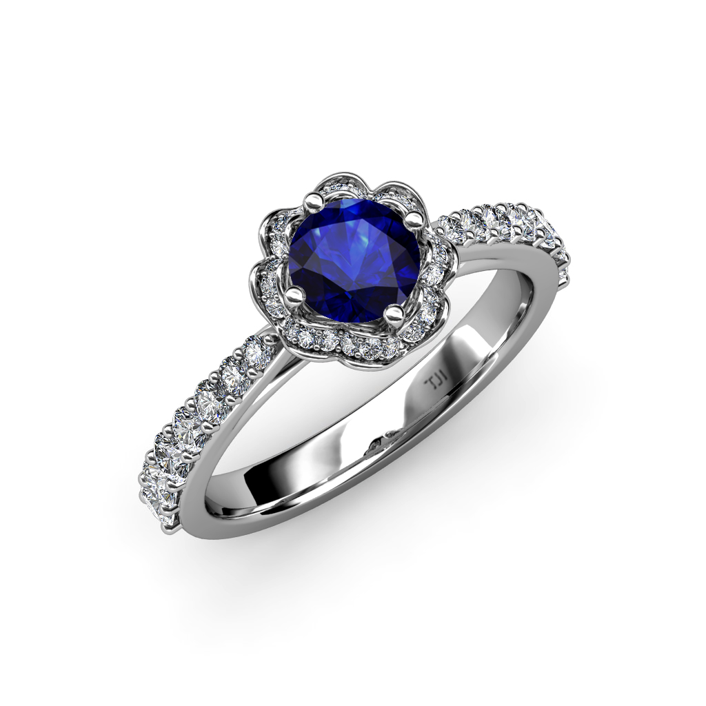 Blue Sapphire & Diamond Floral Halo Engagement Ring 1 57 ct tw in 18K Gol