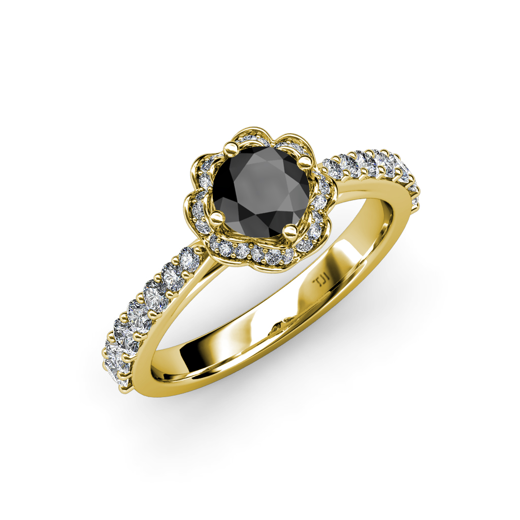 Black & White Diamond SI2 I1 G H Floral Halo Engagement Ring 14K Gold