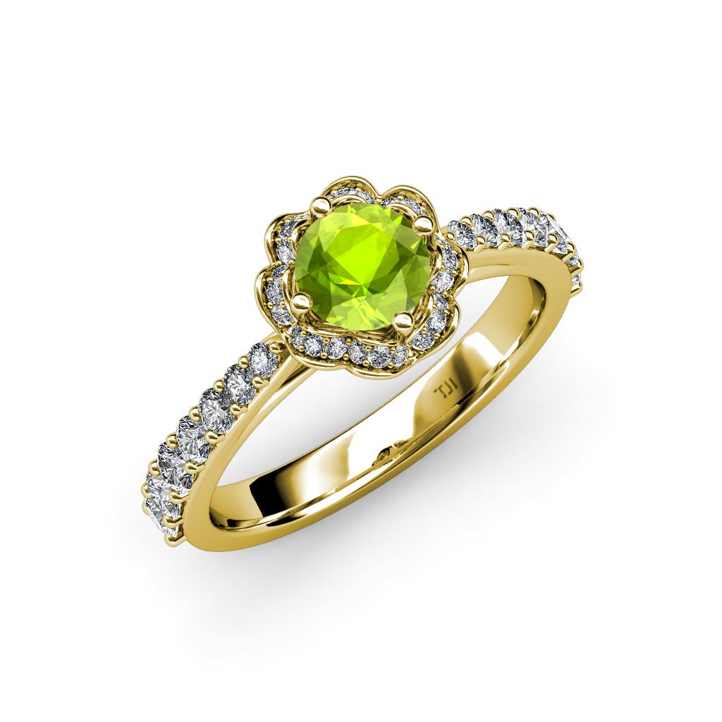 peridot diamond si2 i1 g h floral halo engagement. Black Bedroom Furniture Sets. Home Design Ideas
