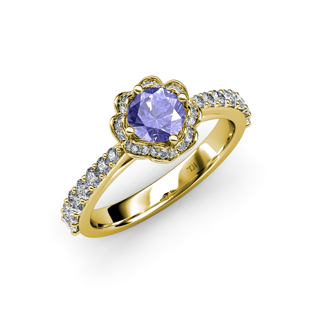 Tanzanite & Diamond (SI2-I1, G-H) Floral Halo Engagement ...