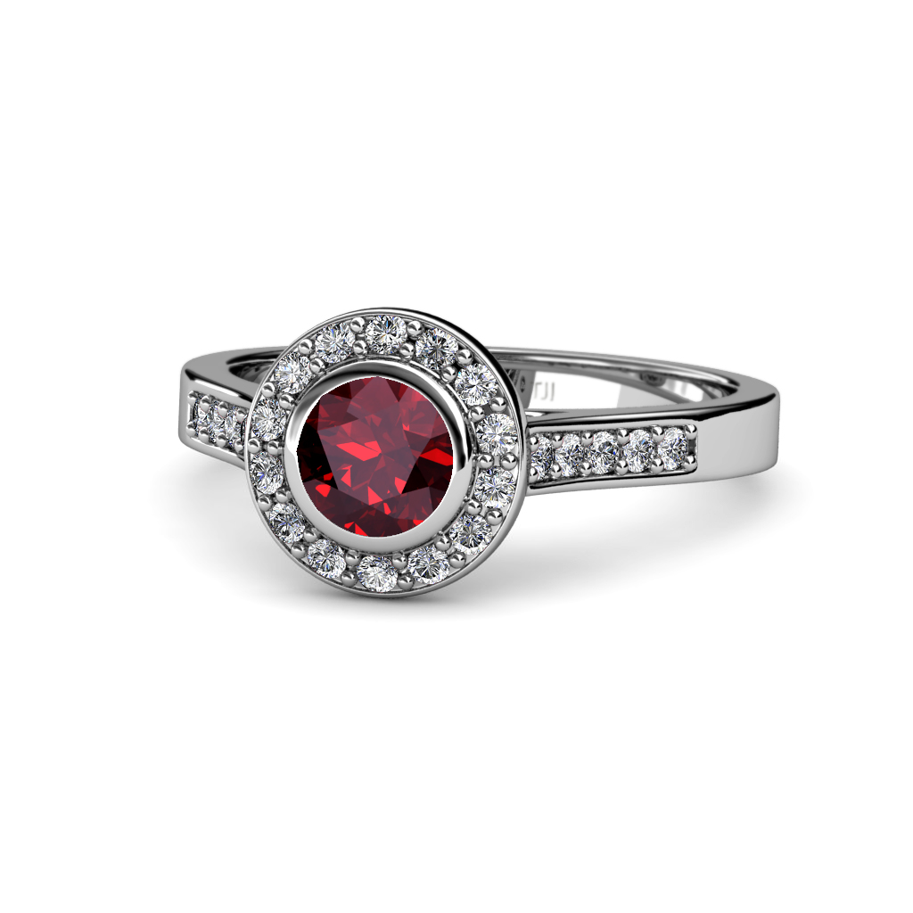 Ruby & Diamond SI2 I1 G H Halo Engagement Ring 1 41 ct tw in 14K Gold