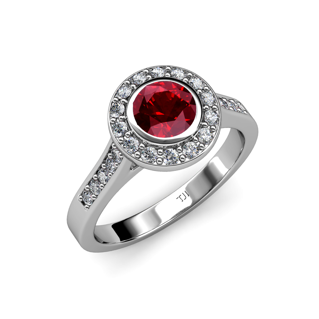 ruby diamond vs2 si1 f g halo engagement ring ct. Black Bedroom Furniture Sets. Home Design Ideas