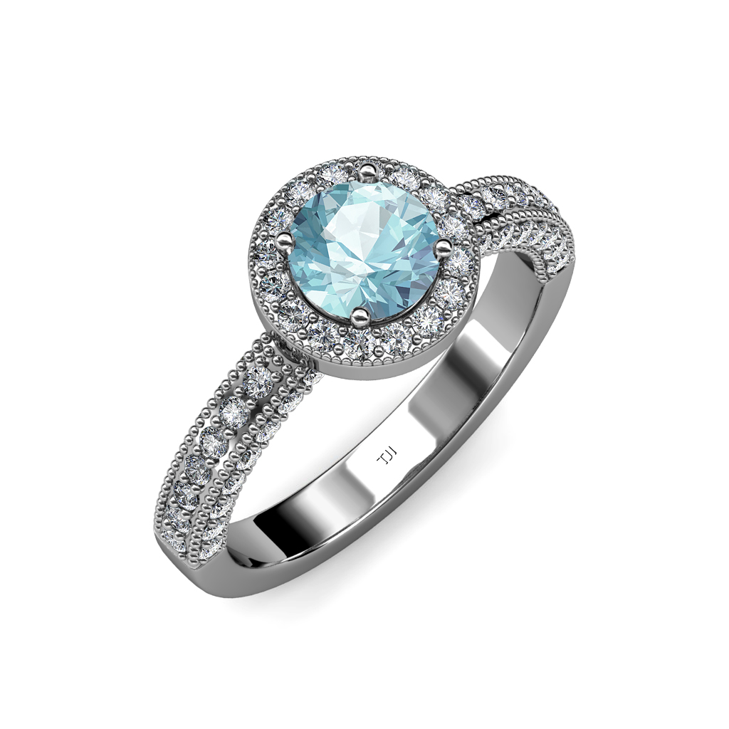 aquamarine diamond milgrain work halo engagement ring 1. Black Bedroom Furniture Sets. Home Design Ideas