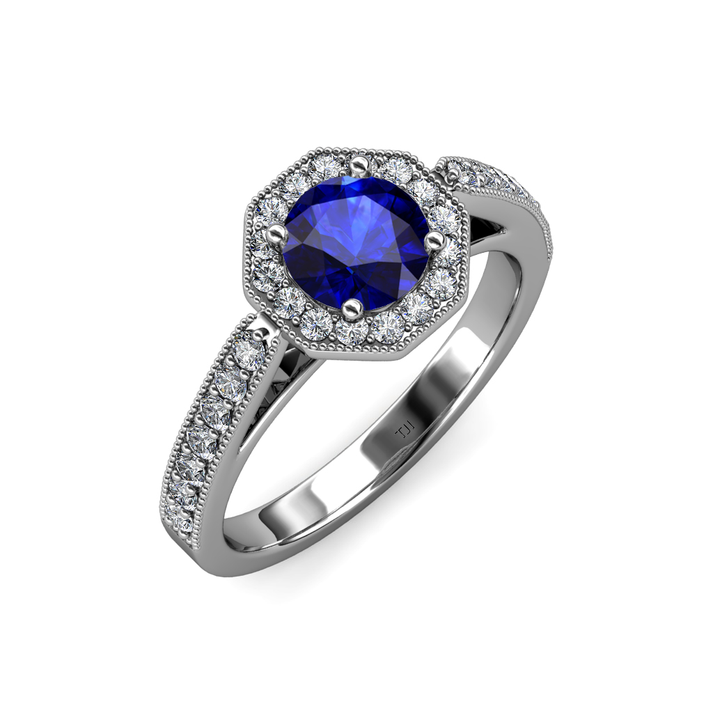 blue sapphire diamond milgrain work halo engagement ring. Black Bedroom Furniture Sets. Home Design Ideas