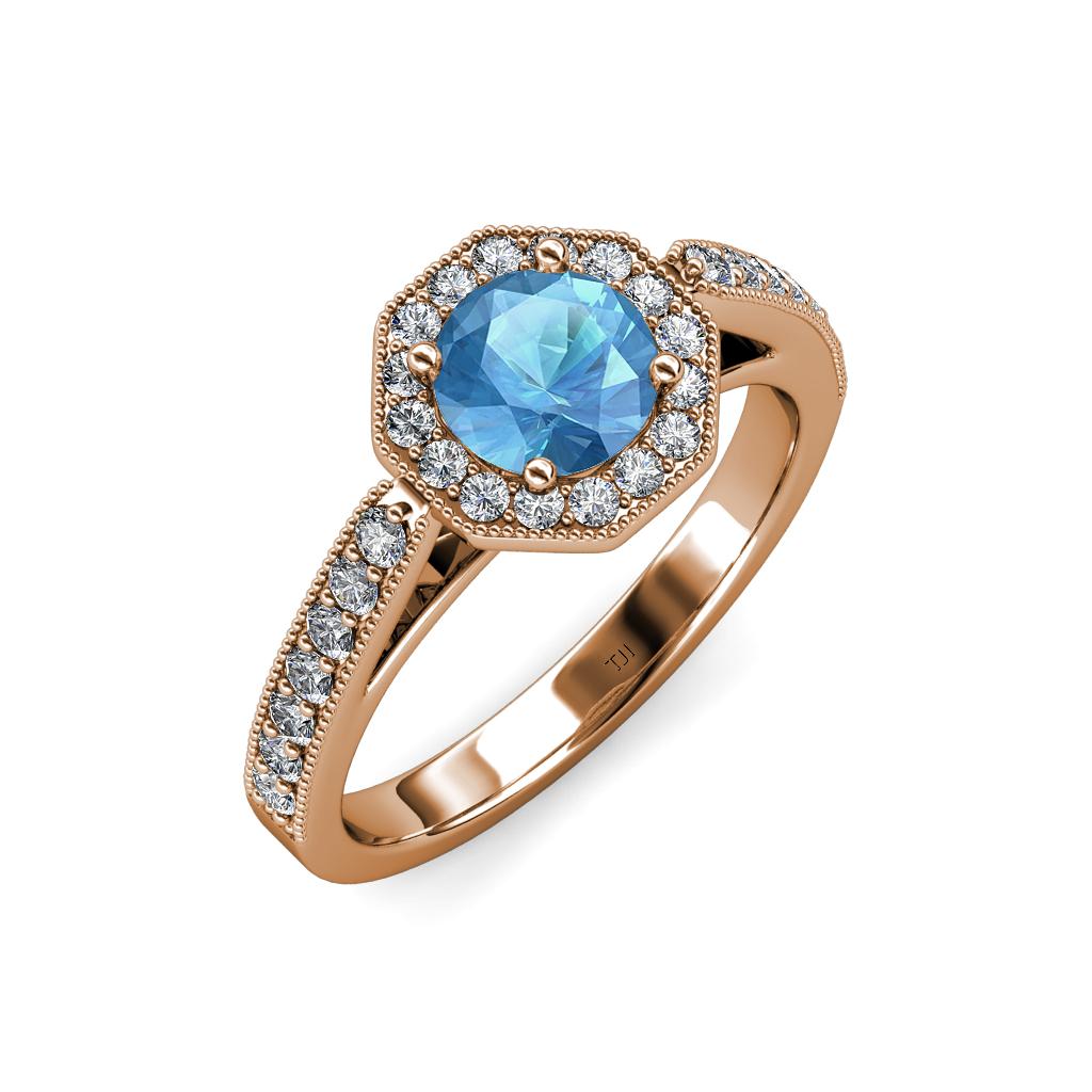 Blue topaz diamond milgrain work halo engagement ring 1 for Work wedding rings