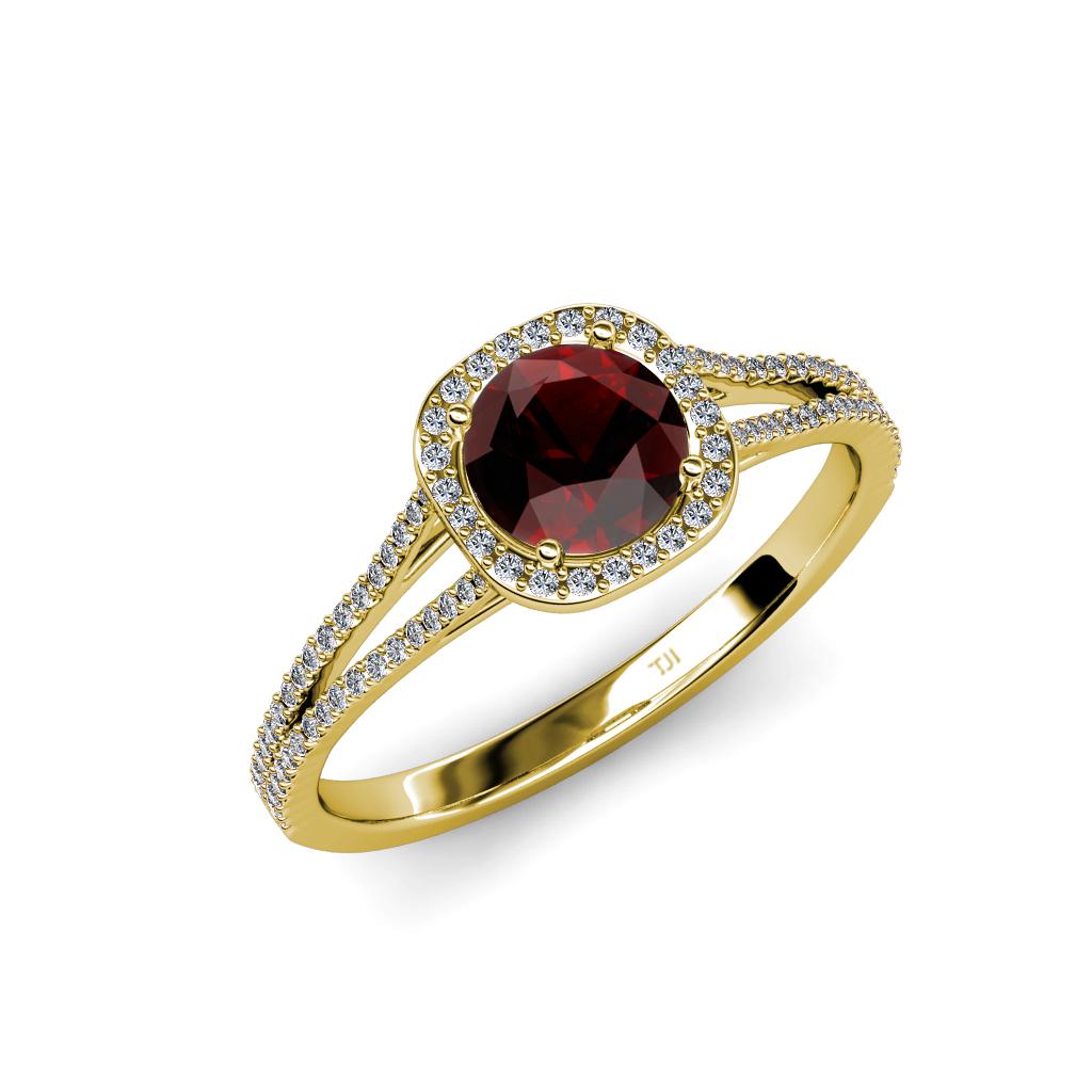 red garnet diamond si2 i1 g h halo engagement ring 1. Black Bedroom Furniture Sets. Home Design Ideas