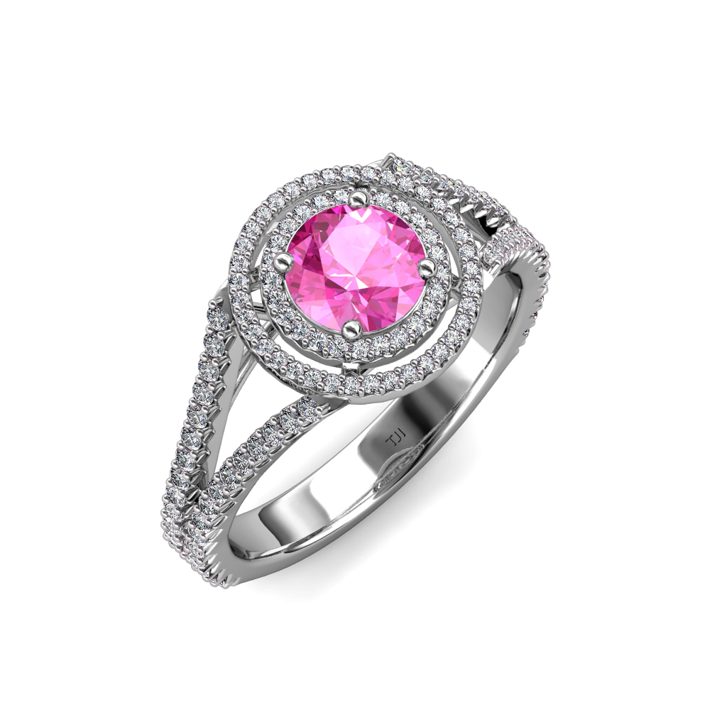 Pink Sapphire & Diamond Double Halo Engagement Ring 1 42 ct tw in 14K Gol