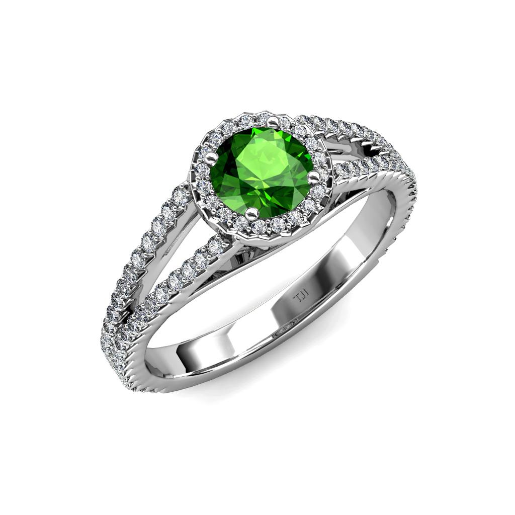 green garnet diamond si2 i1 g h halo engagement ring. Black Bedroom Furniture Sets. Home Design Ideas