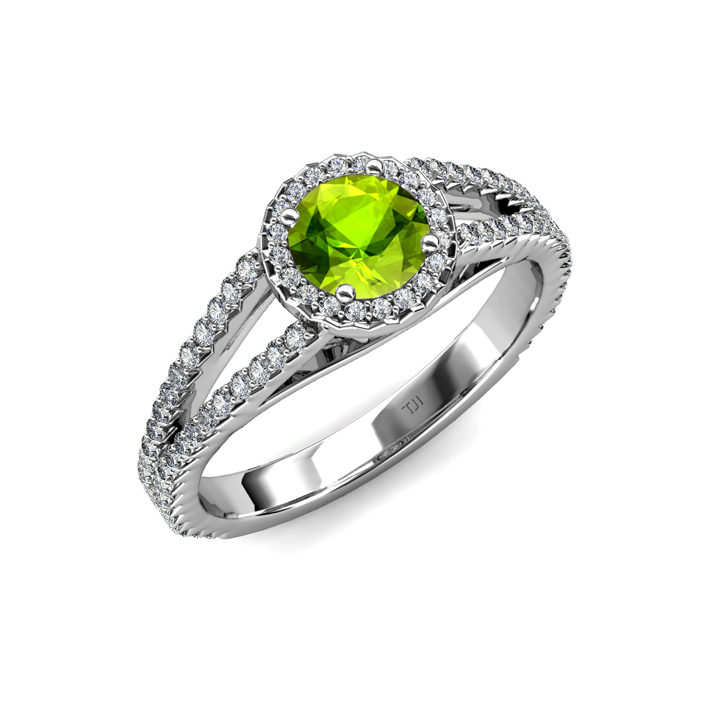 Peridot & Diamond VS2 SI1 F G Halo Engagement Ring 1 58 ct tw in 18K G