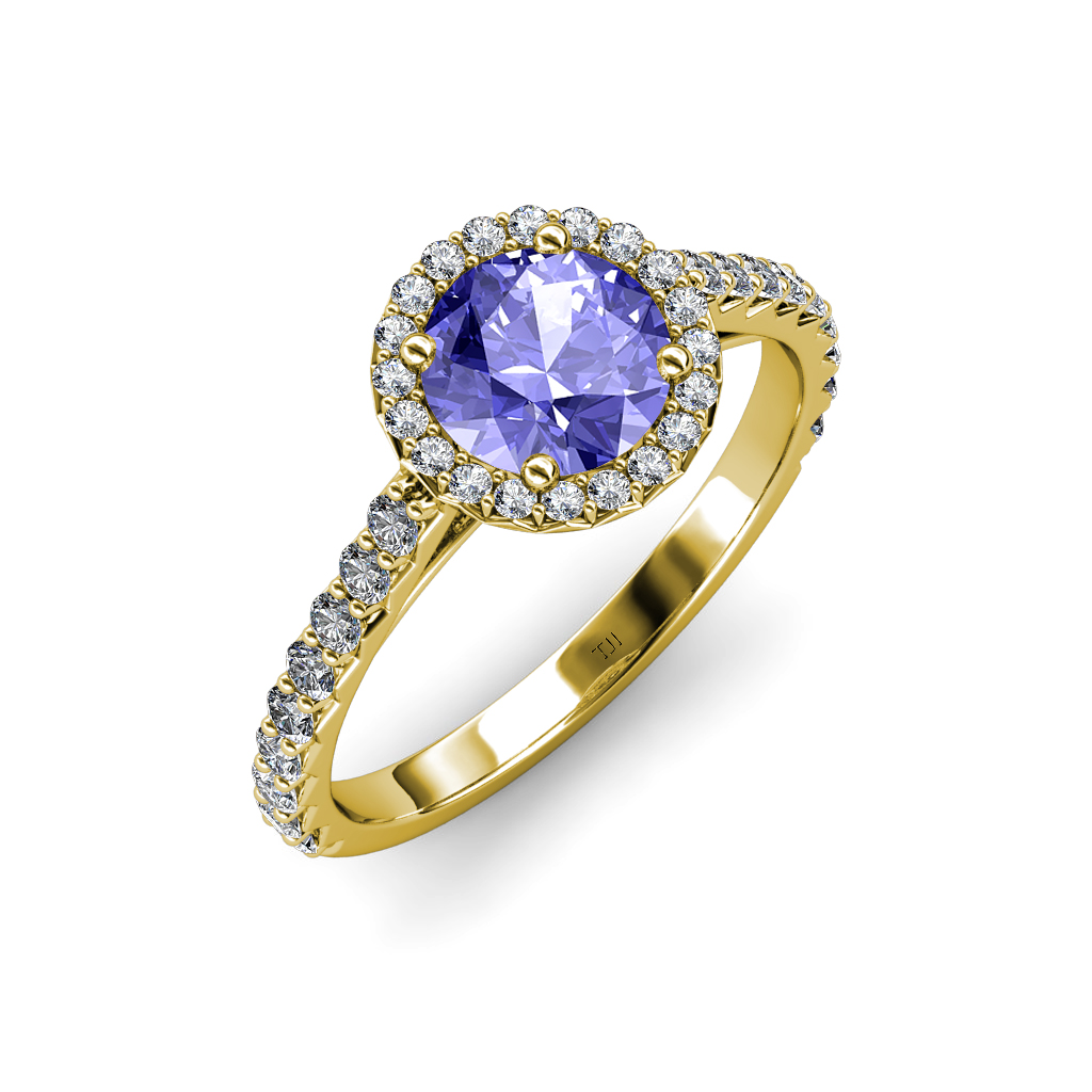 Tanzanite & Diamond (SI2-I1, G-H) Halo Engagement Ring 1 ...