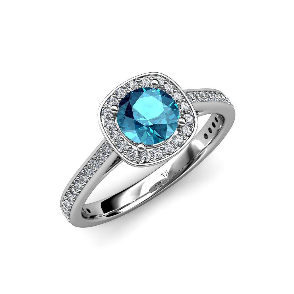 london blue topaz diamond si2 i1 g h halo engagement. Black Bedroom Furniture Sets. Home Design Ideas