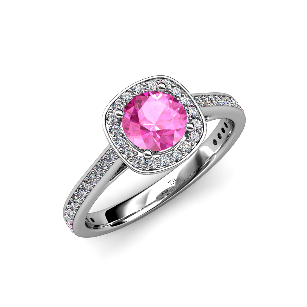 Pink Sapphire & Diamond (SI2-I1, G-H) Halo Engagement Ring ...