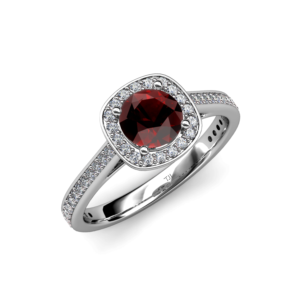 red gar  and diamond si2 i1 g h halo engagement ring