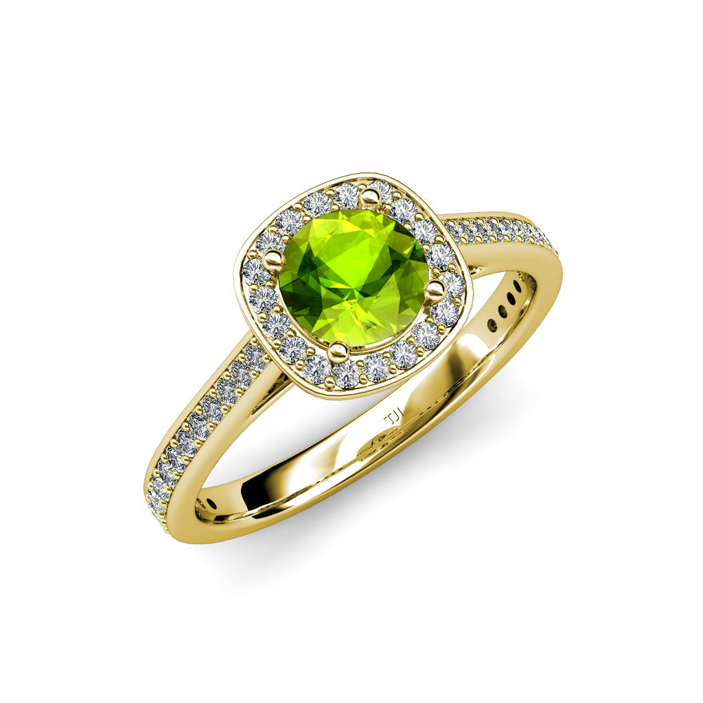 peridot and diamond si2 i1 g h halo engagement ring 1. Black Bedroom Furniture Sets. Home Design Ideas