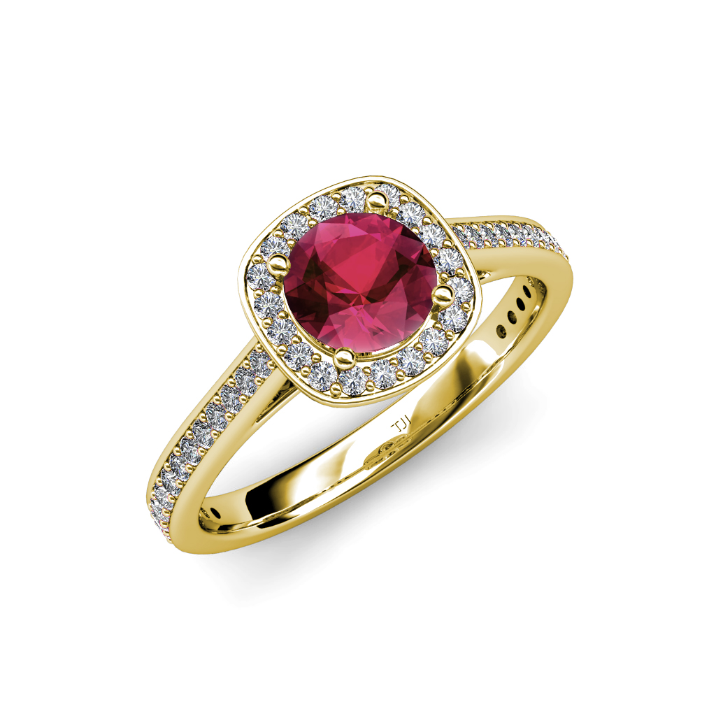 Garnet Bands: Rhodolite Garnet & Diamond (SI2-I1, G-H) Halo Engagement