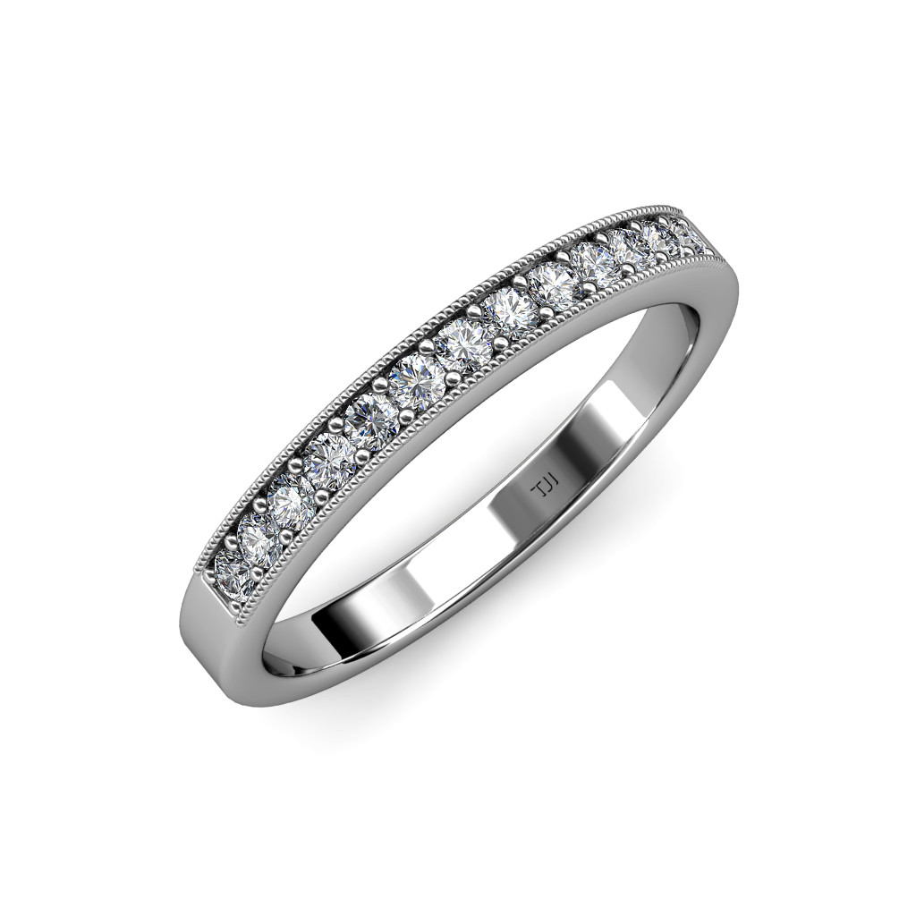 Diamond 13 Stone Wedding Band With Milgrain Work 0.39 Ct