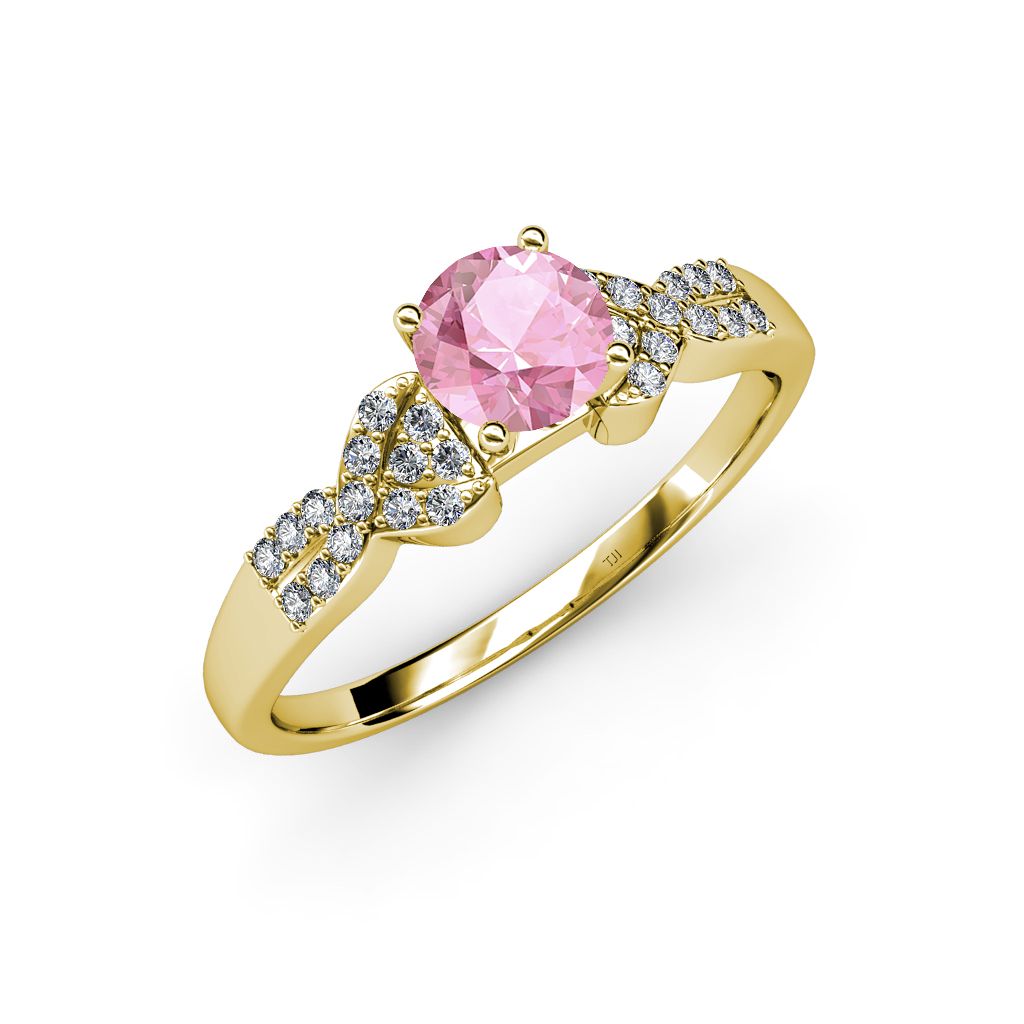 pink tourmaline and solitaire plus engagement ring