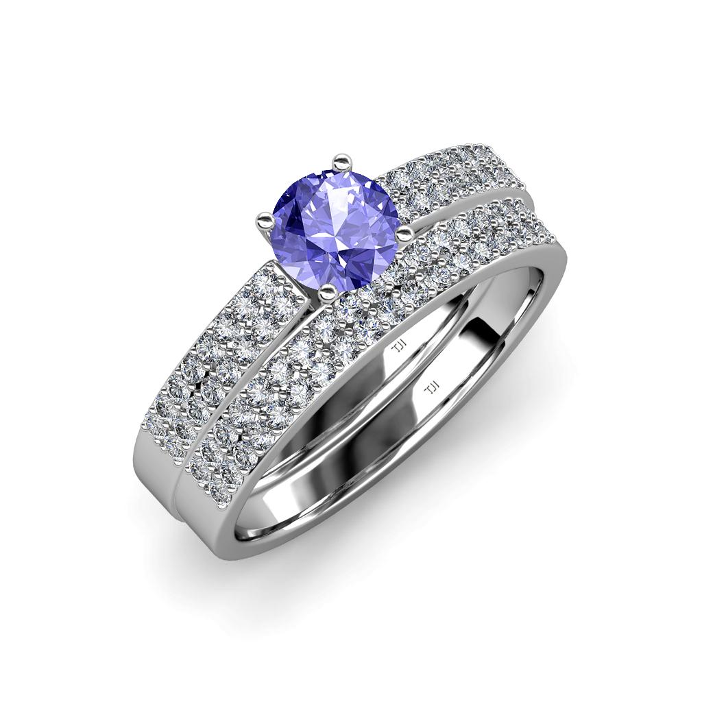 Tanzanite & Diamond Double Row Bridal Set Ring & Wedding ...