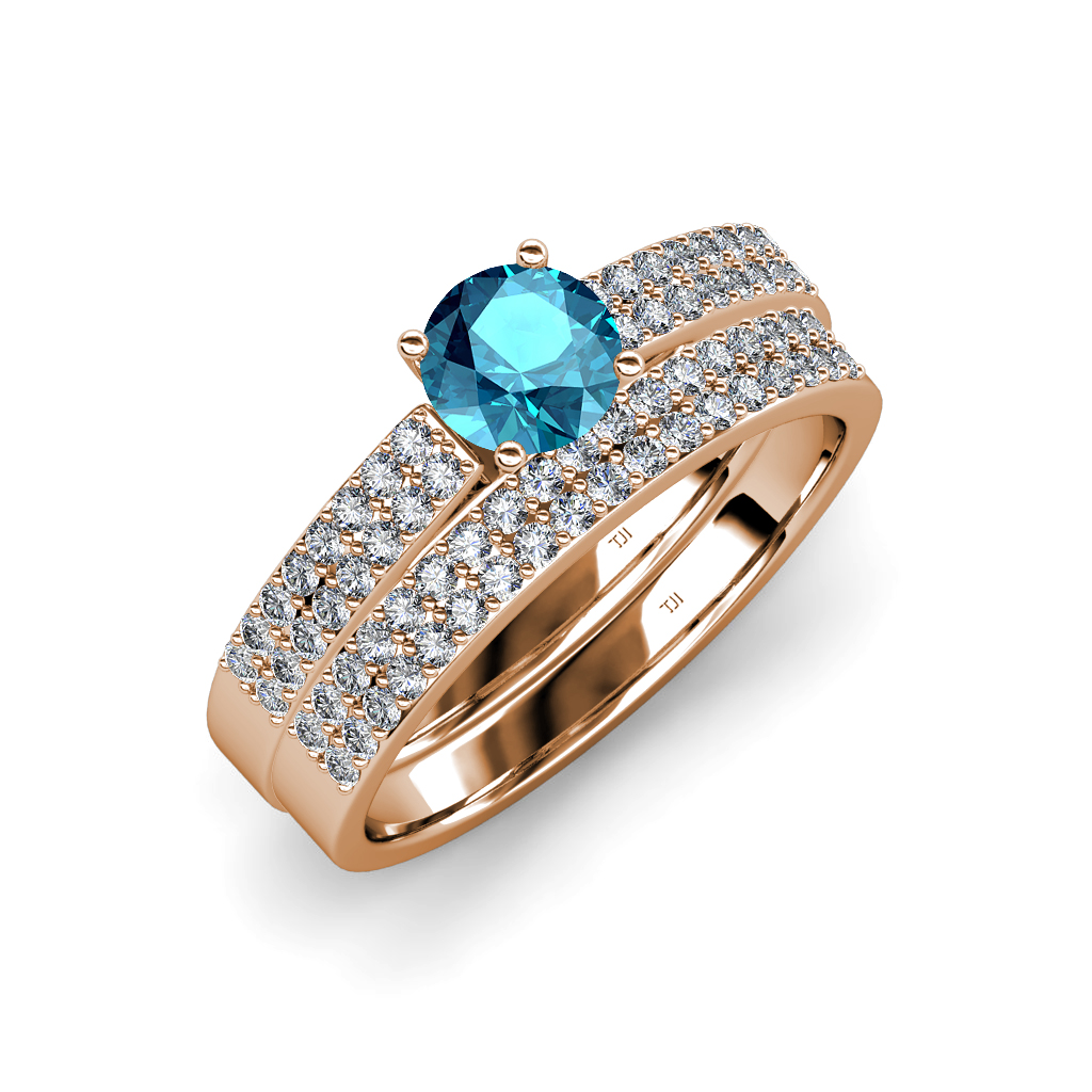 London blue topaz diamond bridal set ring wedding band for Where to sell wedding ring set