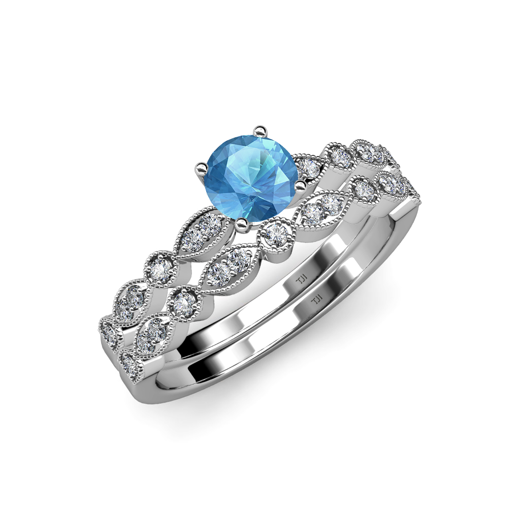 blue topaz diamond marquise bridal set ring wedding. Black Bedroom Furniture Sets. Home Design Ideas