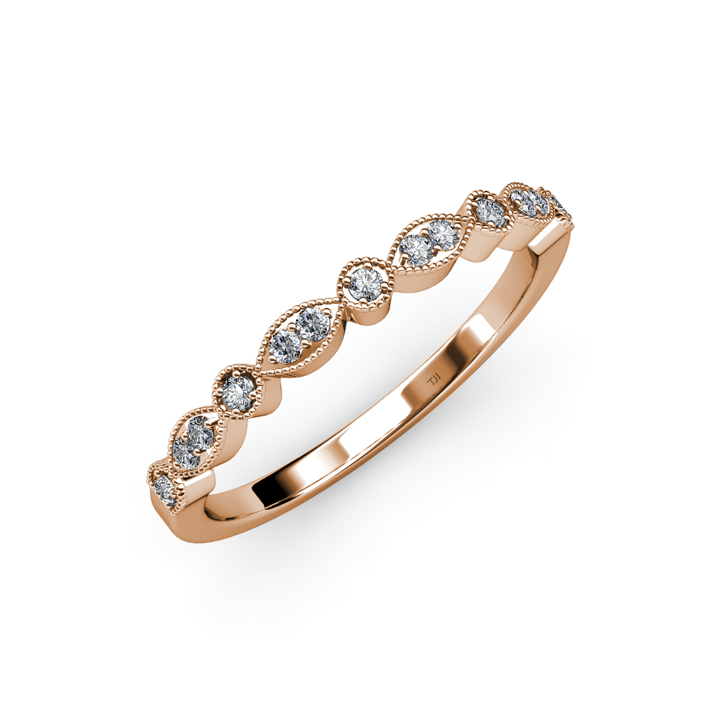 Marquise Ring Bands: Diamond Marquise & Dot Wedding Band (SI2-I1,G-H) 0.15 Ct