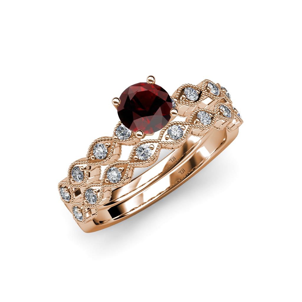 Red Garnet & Diamond Marquise Shape Engagement Ring & Wedding Band Se