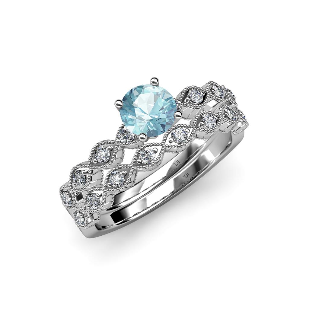 Aquamarine Amp Diamond Marquise Shape Engagement Ring