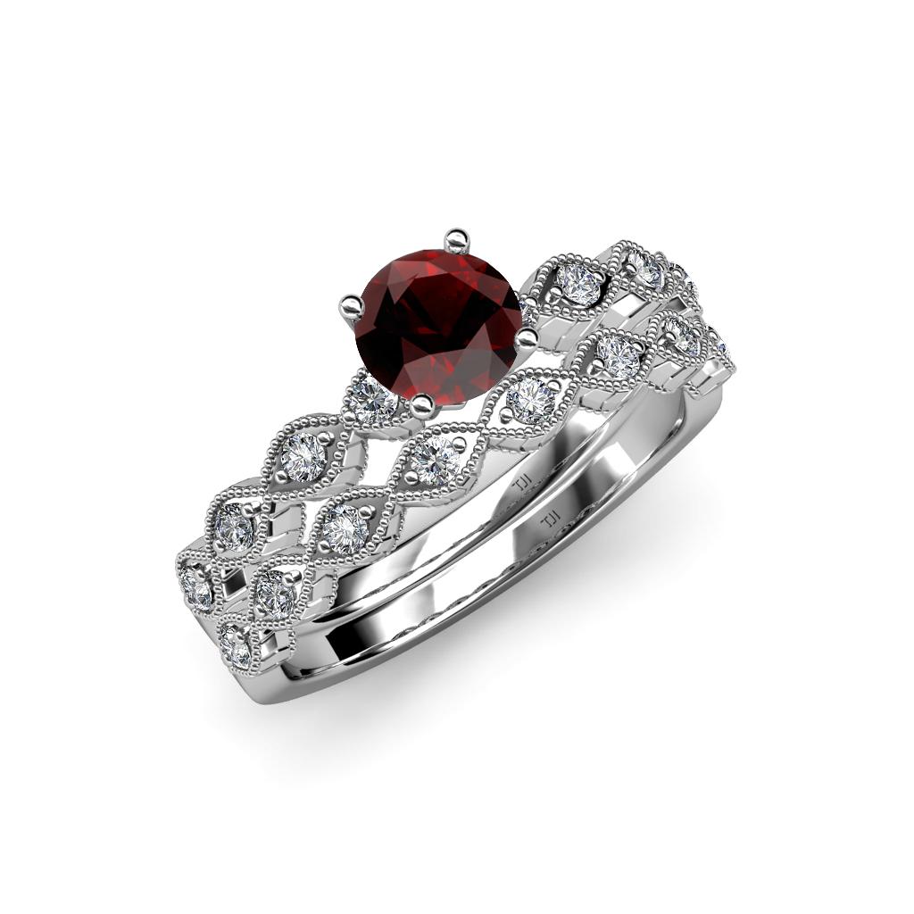 Garnet Bands: Red Garnet & Diamond Marquise Shape Engagement Ring