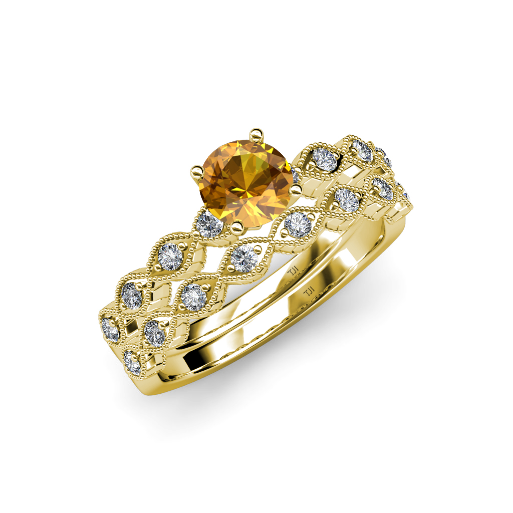 Citrine Amp Diamond Marquise Shape Engagement Ring Amp Wedding Band Set In 14K Gold