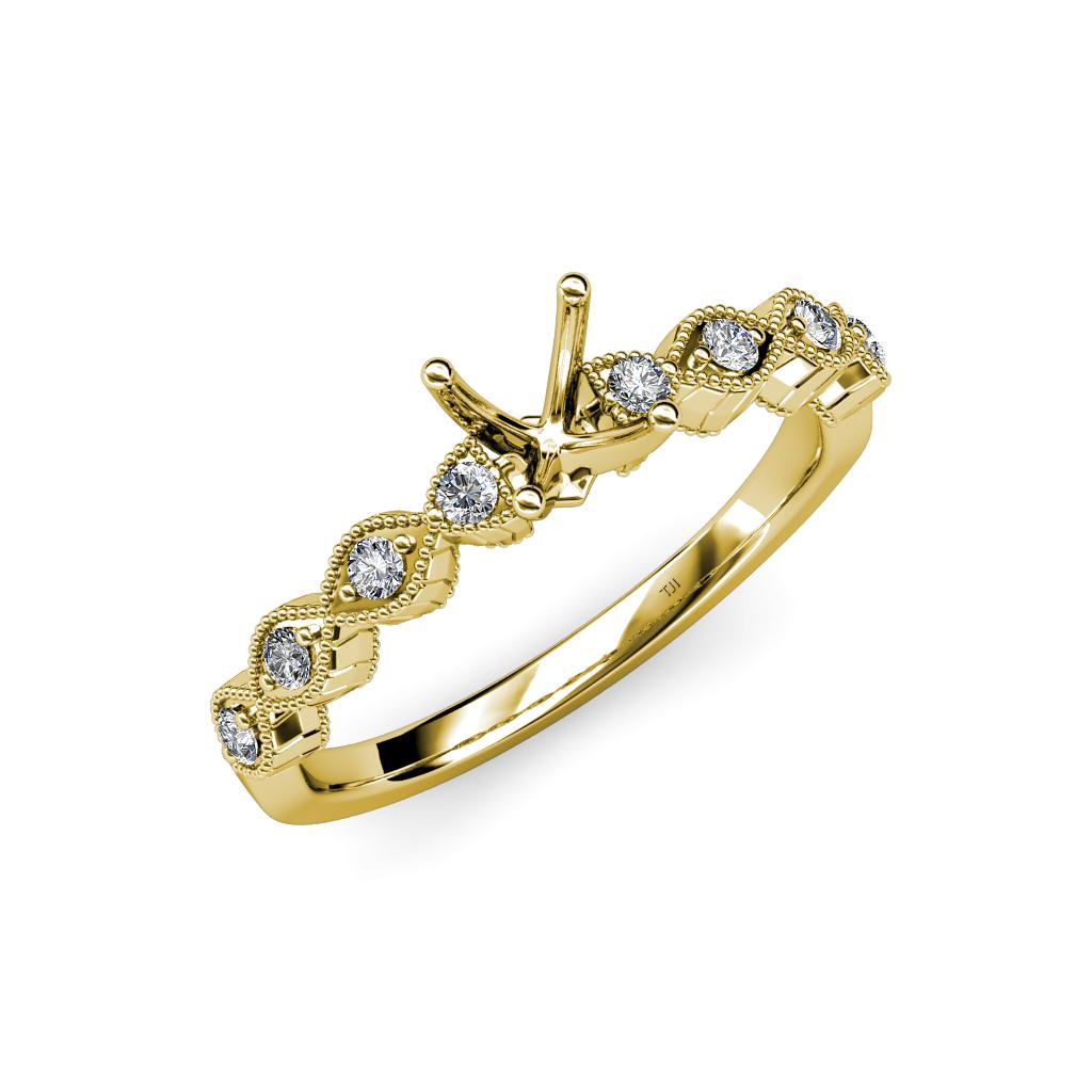diamond milgrain work semi mount twisted engagement ring. Black Bedroom Furniture Sets. Home Design Ideas