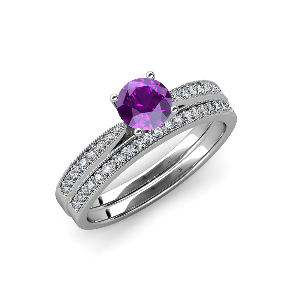 Amethyst diamond milgrain engagement ring wedding band for Amethyst diamond wedding ring set