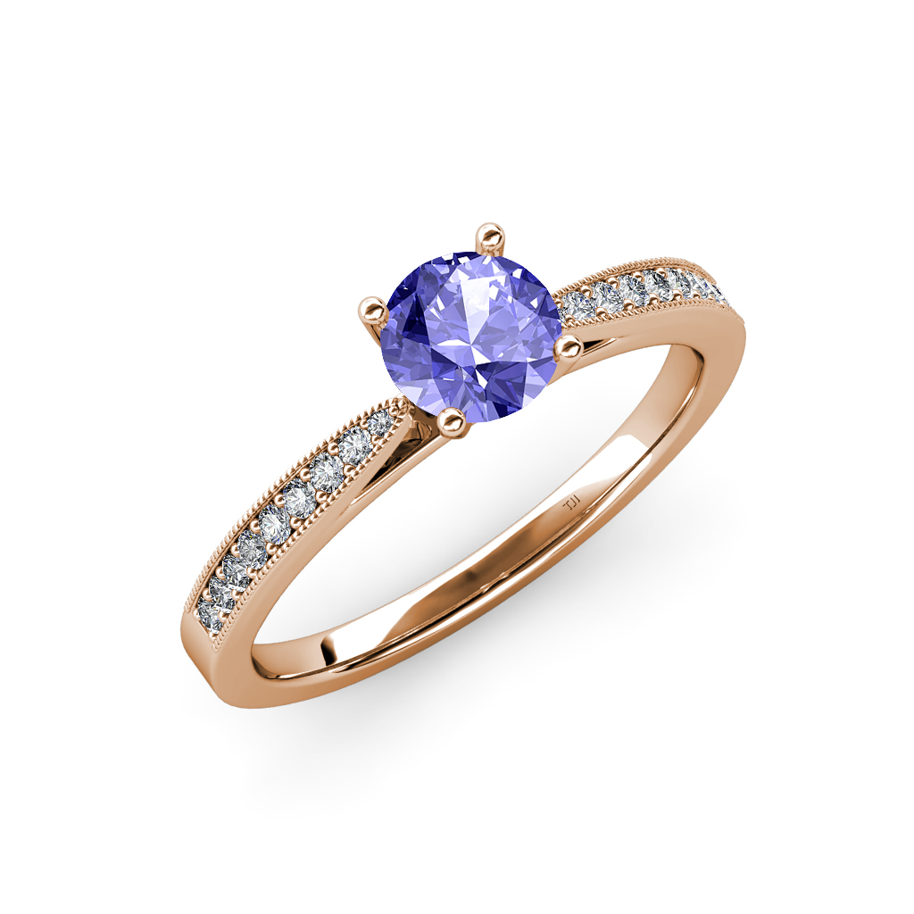 tanzanite diamond engagement ring with milgrain work 0. Black Bedroom Furniture Sets. Home Design Ideas