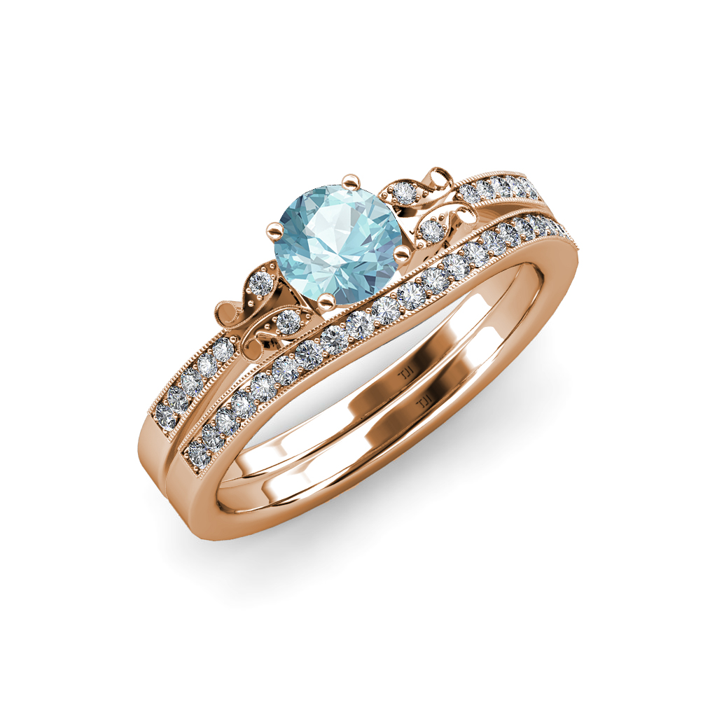 Aquamarine diamond butterfly engagement ring wedding for Where to sell wedding ring set