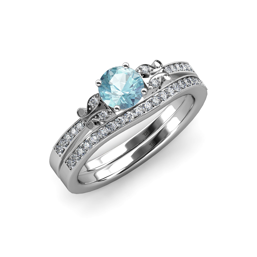 Aquamarine Amp Diamond Butterfly Engagement Ring Amp Wedding Band Set 14K Gold