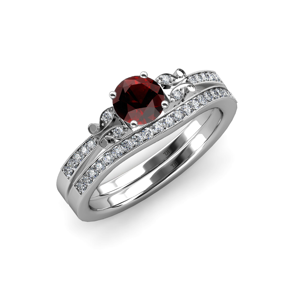 red garnet and diamond butterfly engagement ring & wedding band