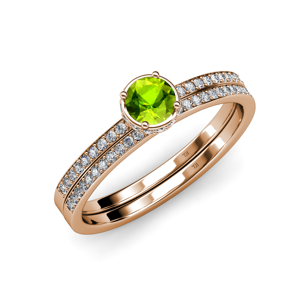 Peridot and diamond haloengagement ring wedding band set for Where to sell wedding ring set