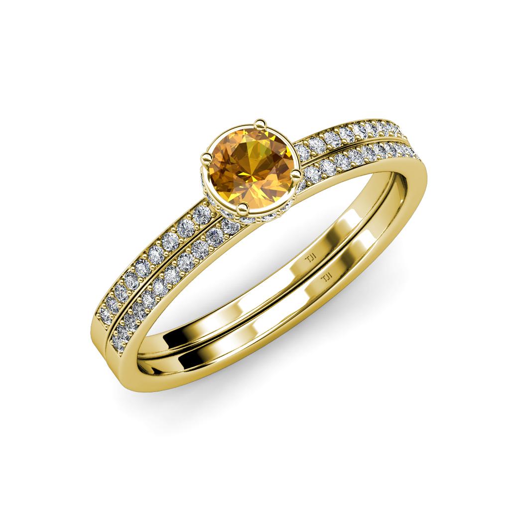 Citrine And Diamond Halo Engagement Ring Amp Wedding Band Set 090 Cttw 14K Gold