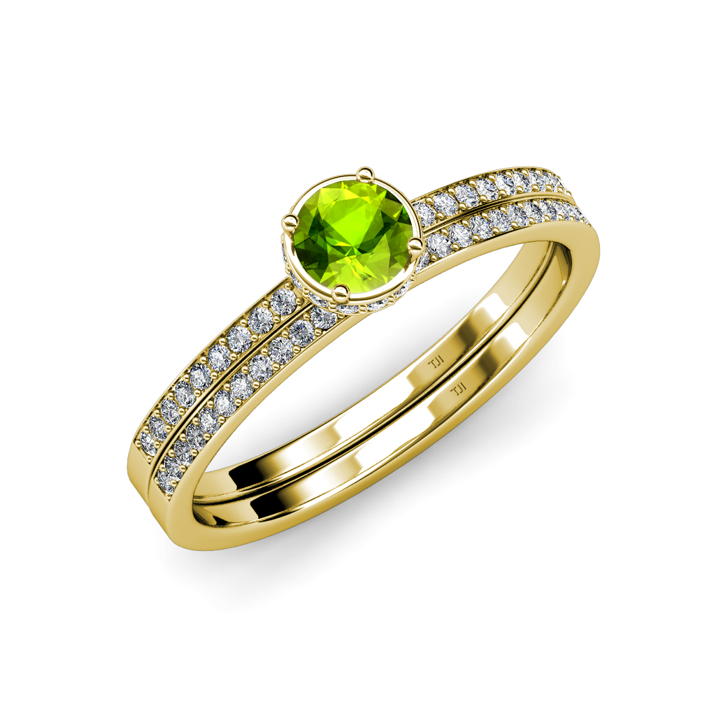 Peridot and diamond haloengagement ring wedding band set for Peridot wedding ring set