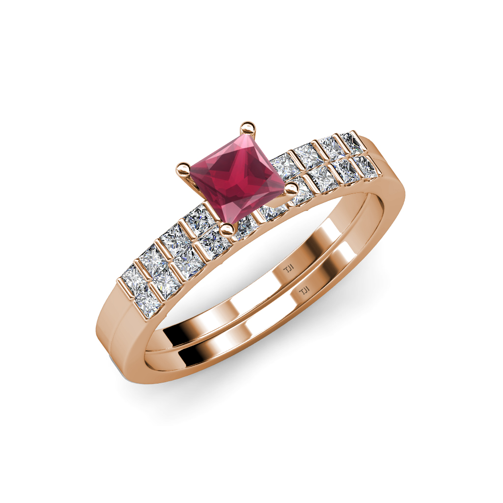 Rhodolite garnet diamond engagement ring wedding band for Where to sell wedding ring set