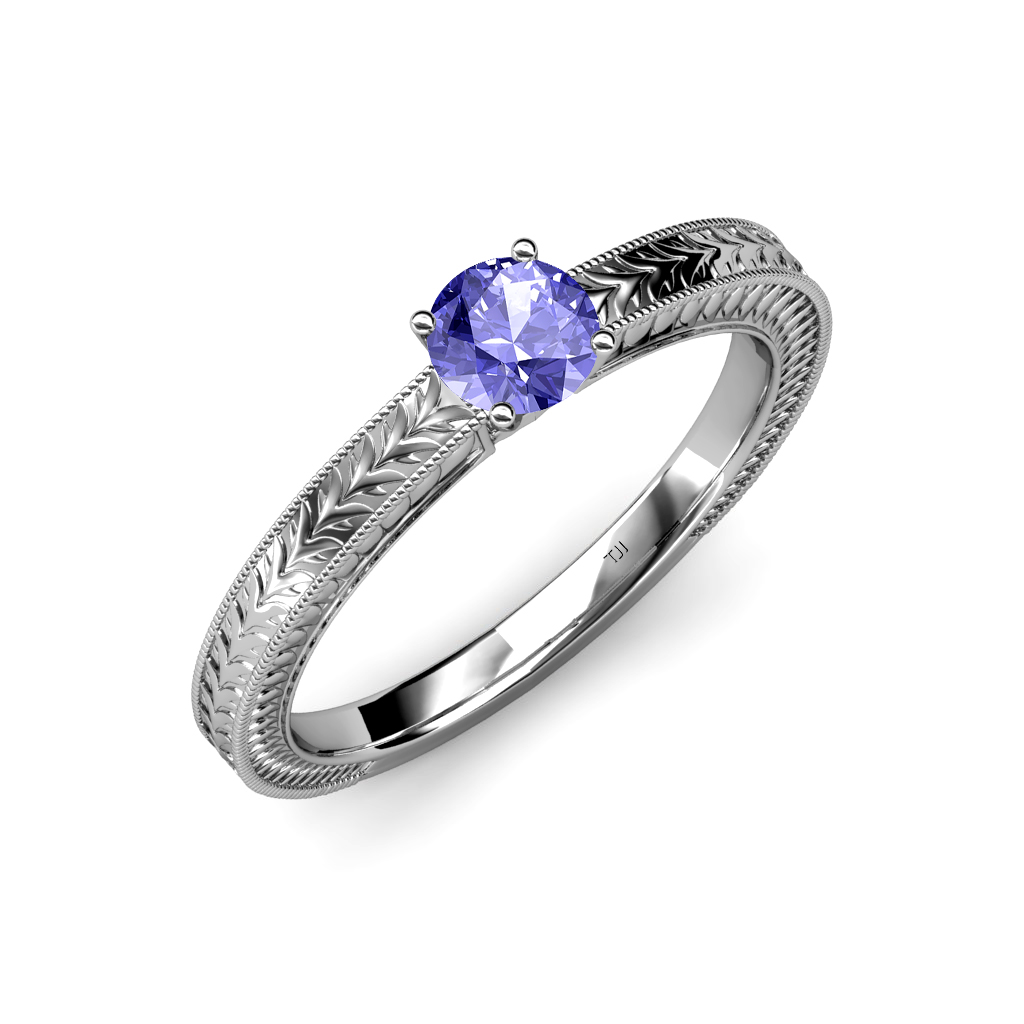 tanzanite engraved solitaire engagement ring with milgrain. Black Bedroom Furniture Sets. Home Design Ideas