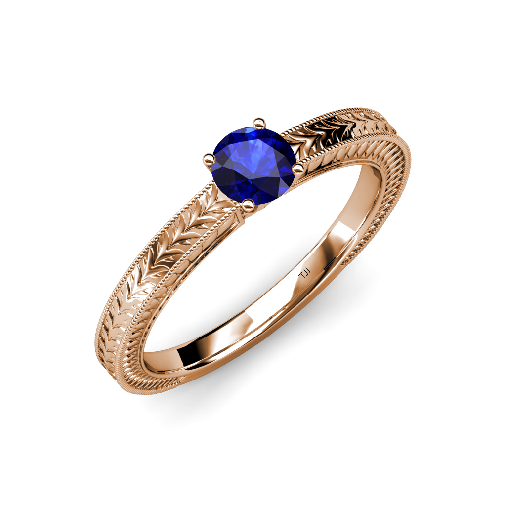 Blue sapphire engraved milgrain work solitaire engagement for Work wedding rings