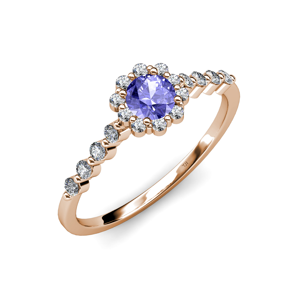 tanzanite diamond floral halo engagement ring ct tw 14k gold jp 68343. Black Bedroom Furniture Sets. Home Design Ideas