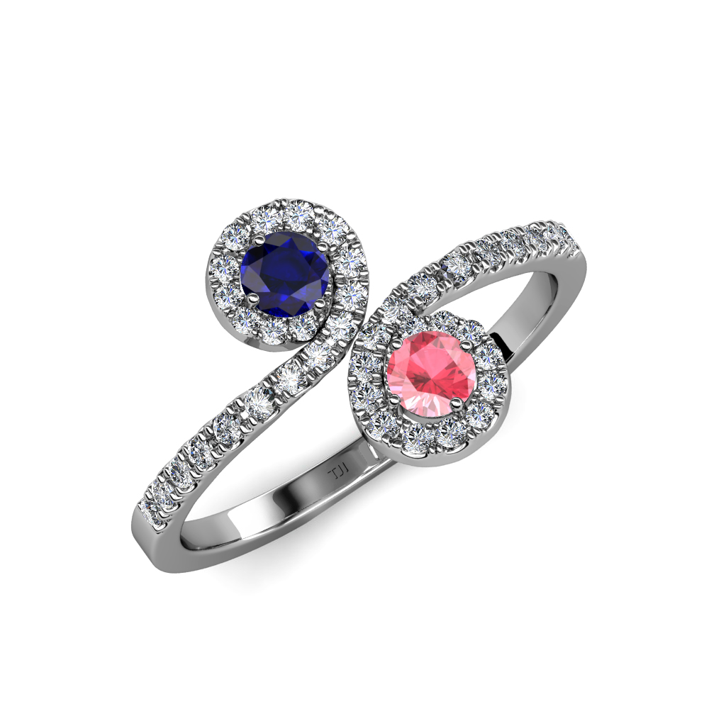 blue sapphire pink tourmaline bypass engagement ring in
