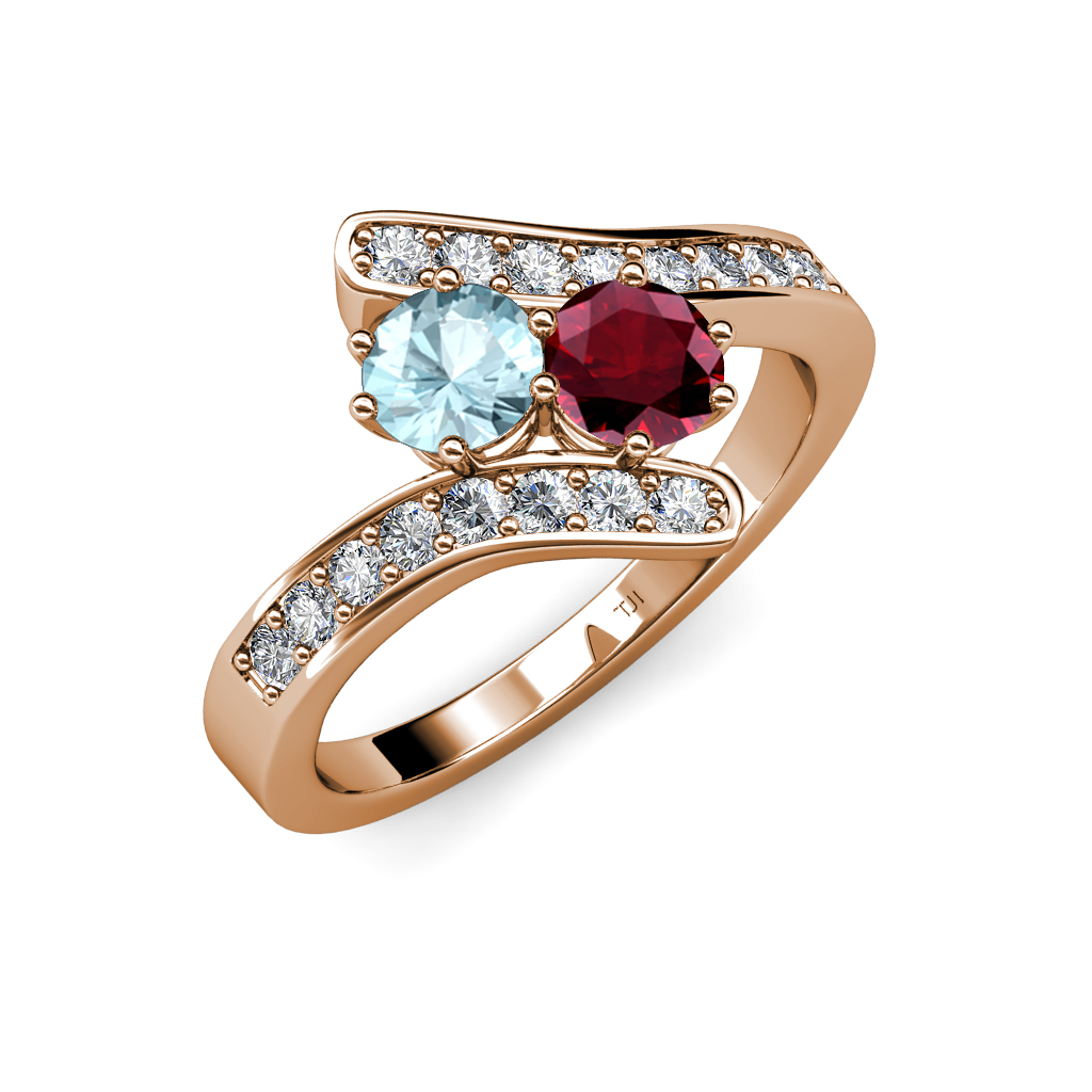aquamarine ruby bypass engagement ring in 14k gold jp. Black Bedroom Furniture Sets. Home Design Ideas