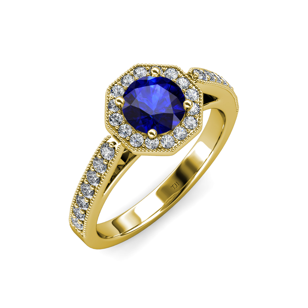 workout wedding rings blue sapphire amp milgrain work halo engagement ring 1499